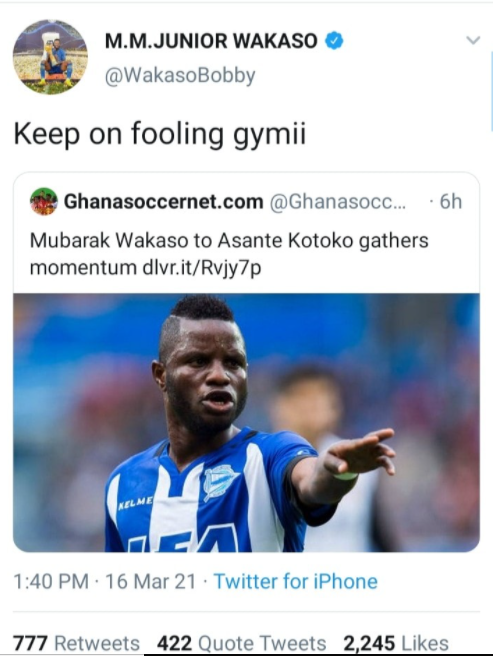 Wakasu !nsults Journalist for linking him with a move to play for Kotoko 2