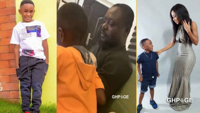 Akuapem Poloo's baby daddy playing with her son
