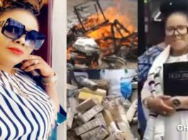 Nana Agradaa finally destroys & set her 'Sika Gari' gods in her shrine ablaze