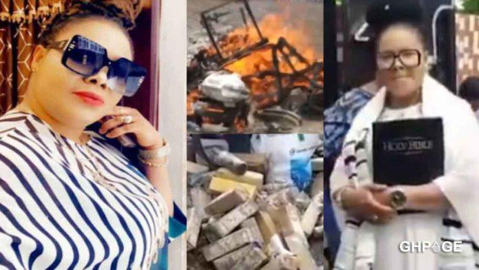 Nana Agradaa finally destroys & set her 'Sika Gari' gods in her shrine ablaze