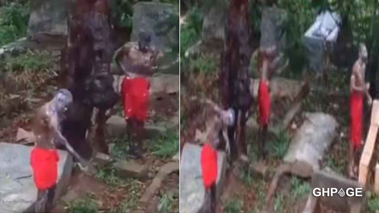 Three boys taped bathing at the cemetery for money ritual purpose