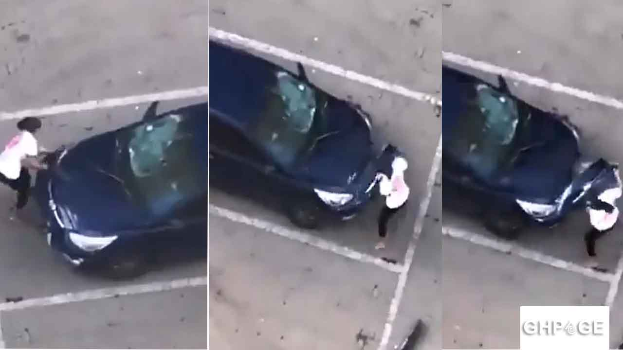 Woman destroys husband's car