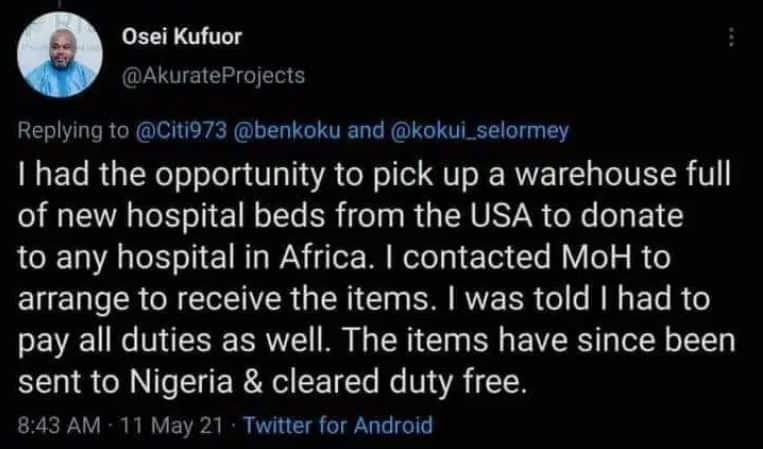 Ghanaian living in the USA tried to donate hospital beds to the health ministry but was asked to pay import duties. 1