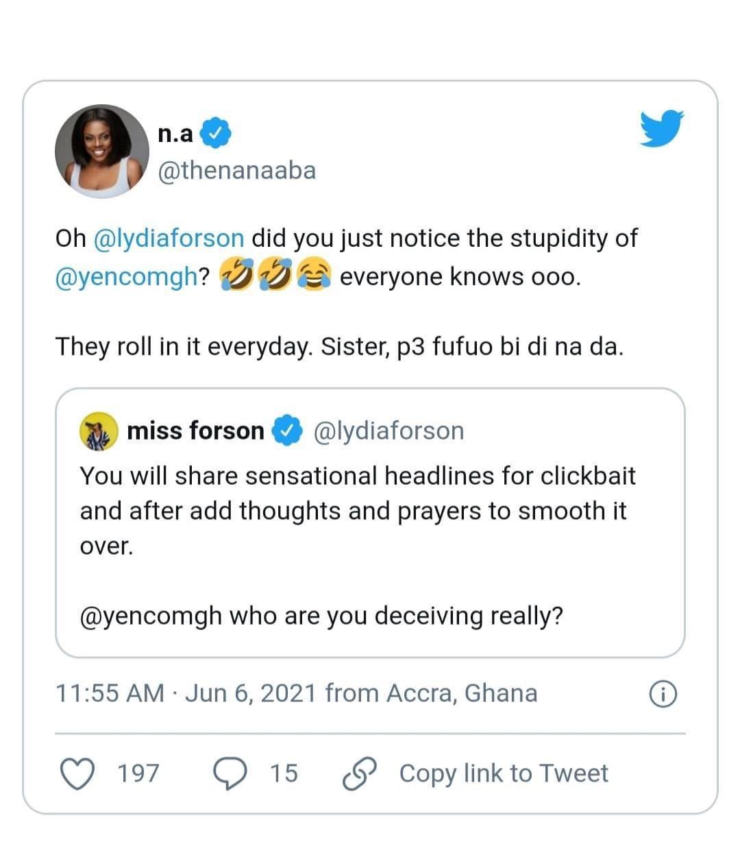 Nana Aba Anamoah and Lydia Forson react to Abena Korkor's allegations