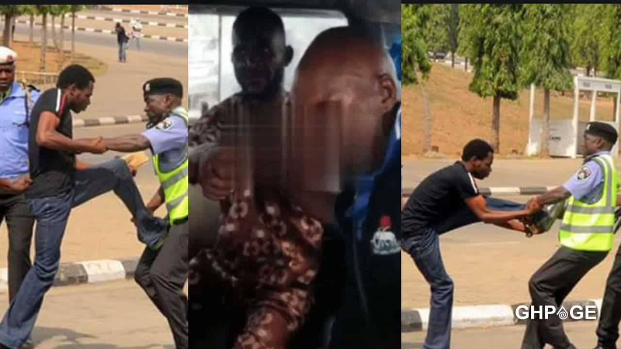 VIDEO: Policeman fights with mate and driver for asking him to pay for his transportation
