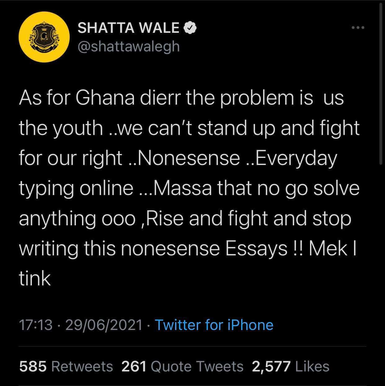 Shatta Wale speaks on #FixTheCountry