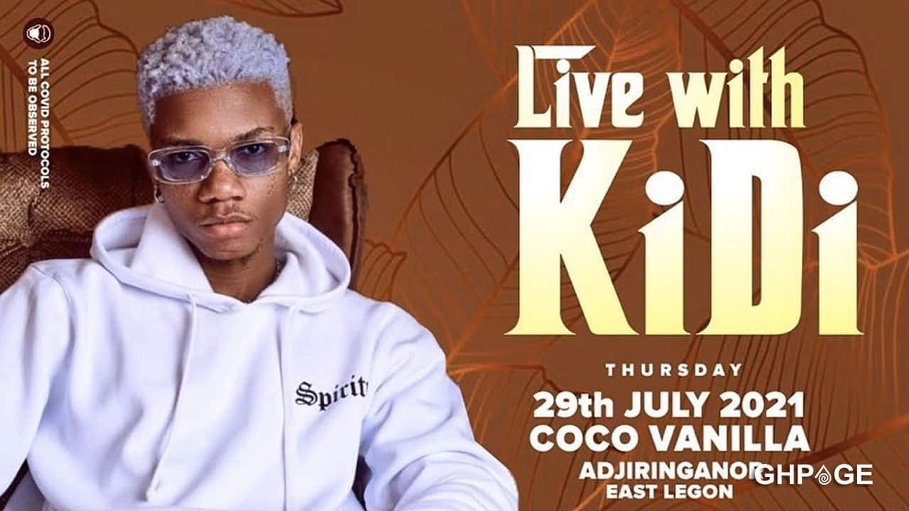 KiDi announces the price list for his upcoming concert