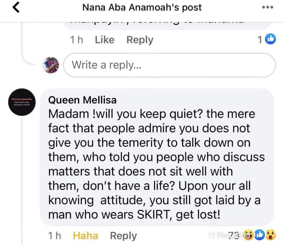 Queen Mellisa's comment dissing Nana Aba Anamoah