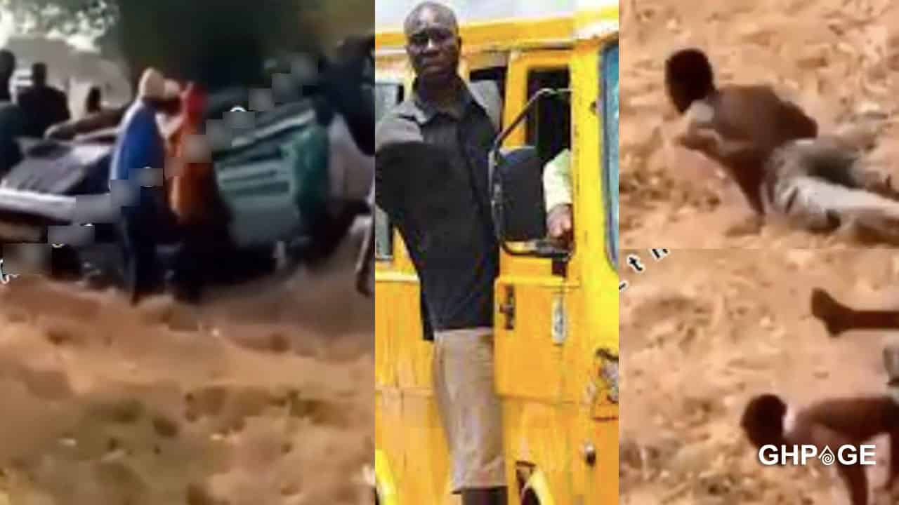Trotro driver pretends to be mad after crushing into a 2021 Range Rover