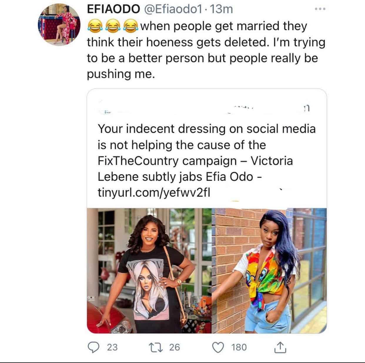 Efia Odo blasts and exposes Victoria Lebene as a hookup girl